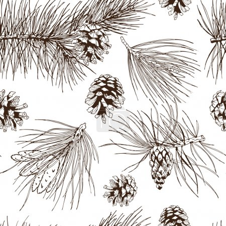 Pine branches seamless pattern