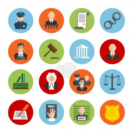 Illustration pour Droit justice juridique juge et législation icônes plates ensemble illustration vectorielle isolée - image libre de droit