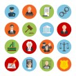 Law legal justice judge and legislation flat icons...