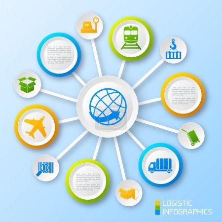 Illustration pour Logistique papier business infographie options et éléments de chaîne de transport illustration vectorielle - image libre de droit