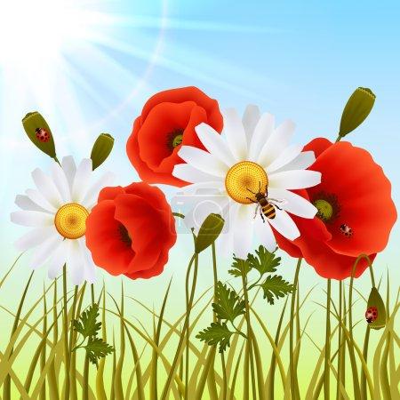 Poppy grass seamless wallpaper