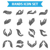 Open empty hands holding protect giving gestures icons set isolated vector illustration