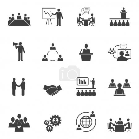 Illustration for Business people online meeting strategic pictograms set of presentation online conference and teamwork isolated vector illustration - Royalty Free Image