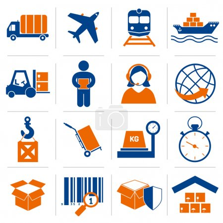 Illustration for Logistic service and shipping icons set of delivery and supply vector illustration - Royalty Free Image
