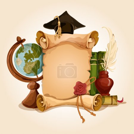 Illustration for College university old style vintage graduation diploma certificate with globe and books vector illustration - Royalty Free Image