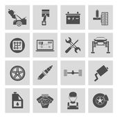 Auto car service icons set of battery tires wheel engine brake repair isolated vector illustration