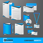 Blue geometric technology business stationery template for corporate identity and branding set isolated vector illustration