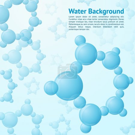 Illustration for Water molecules structure science chemistry nature background vector illustration - Royalty Free Image