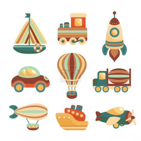 Photo for Toy transport colored cartoon icons set with yacht train space rocket isolated vector illustration - Royalty Free Image