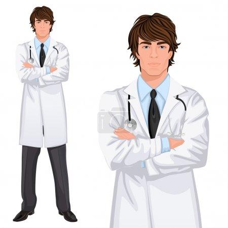 Illustration pour Jeune homme beau médecin assistant debout en blouse blanche avec stéthoscope, bras croisés illustration vectorielle - image libre de droit