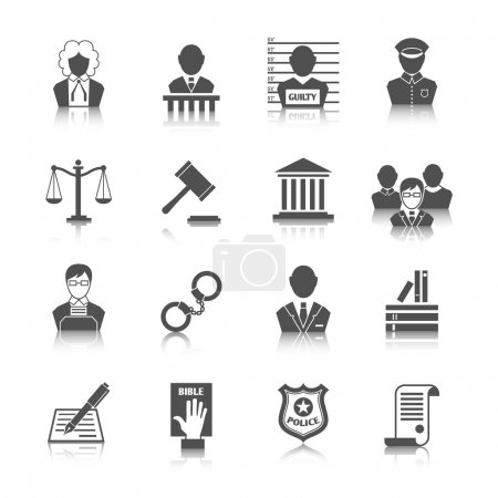 Illustration pour Droit justice juridique juge et législation icônes fixées avec des échelles gavel tribunal illustration vectorielle isolée - image libre de droit