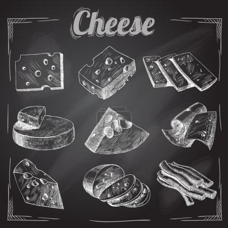 Illustration pour Tablette découpée en tranches assortiment de fromages icônes décoratives ensemble illustration vectorielle - image libre de droit