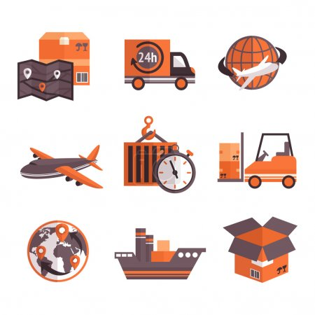 Illustration for Logistic shipping freight service supply delivery icons set isolated vector illustration - Royalty Free Image