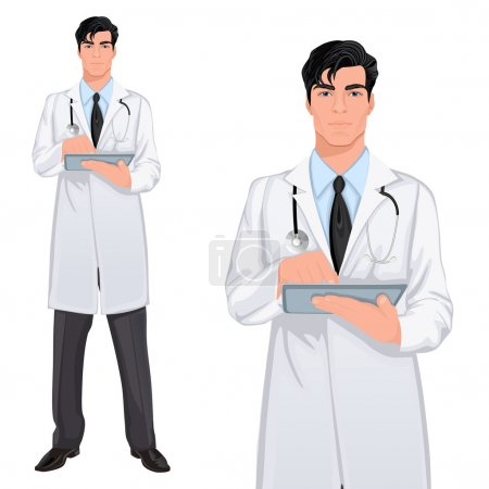 Illustration pour Médecin professionnel beau jeune assistant médecin debout en blouse blanche avec écran tactile tablette PC vecteur illustration - image libre de droit