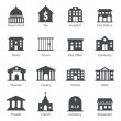 Government building icons set of police museum lib...