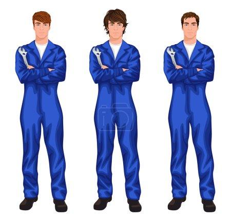 Illustration pour Trois jeunes travailleurs mécaniciens beaux dans l'ensemble avec clé, bras croisés avec différentes styles de cheveux illustration vectorielle - image libre de droit