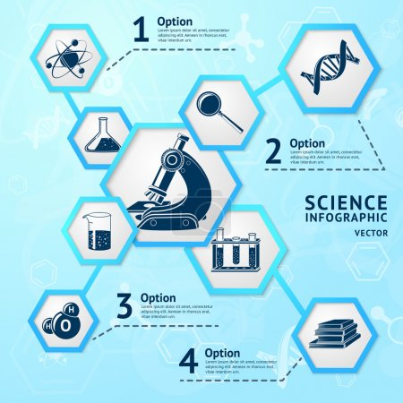 Illustration for Science research hexagon education laboratory equipment business infographic vector illustration - Royalty Free Image