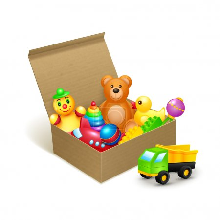 Illustration for Decorative children toys collection in cardboard paper box vector illustration - Royalty Free Image