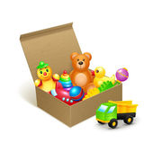Decorative children toys collection in cardboard paper box vector illustration