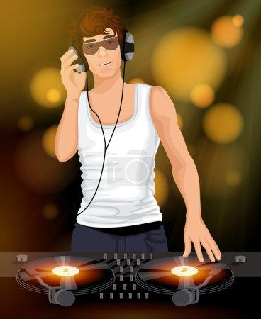 Male DJ with headphones
