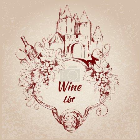 Illustration pour Carte de carte de restaurant de vin avec des éléments de bouteille de raisin illustration vectorielle - image libre de droit