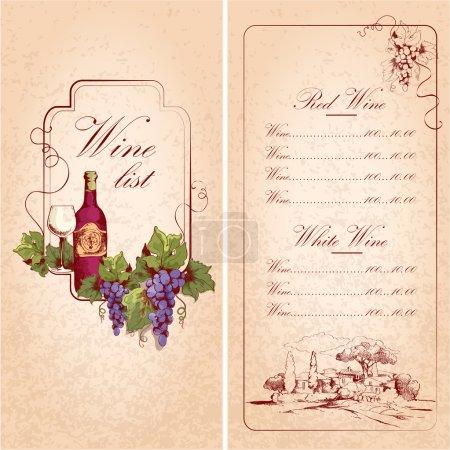 Illustration pour Vintage restaurant carte des vins modèle de menu illustration vectorielle - image libre de droit