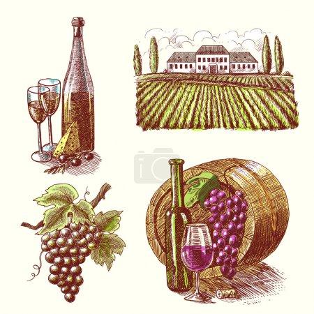 Illustration pour Vin vintage croquis décoratif dessiné à la main icônes ensemble de tonneau branche de raisin cave isolé vecteur illustration - image libre de droit