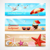 Summer holidays beach labels with seagull cocktail sea shell vector illustration