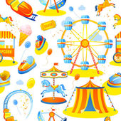 Amusement entertainment park seamless pattern with tent cars rides vector illustration