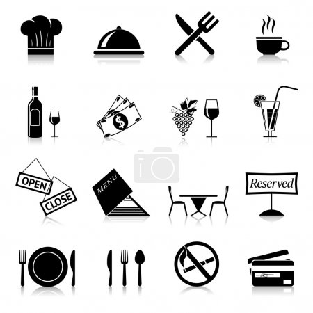 Illustration pour Nourriture de Restaurant cuisine et desservant les icônes noires et blanches mis illustration vectorielle isolé - image libre de droit