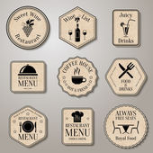 Restaurant menu food and drinks wine list labels set isolated vector illustration