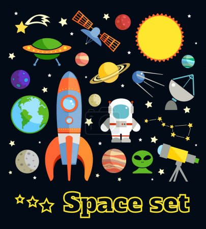 Illustration for Space and astronomy decorative elements set isolated on dark background vector illustration - Royalty Free Image
