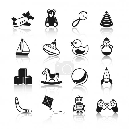 Illustration for Black and white kid children toys icons set of airplane teddy bear rattle pyramid isolated vector illustration. - Royalty Free Image