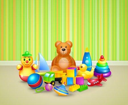 Illustration pour Enfants décoratifs jouets icônes ensemble enfant salle de jeux fond vectoriel illustration - image libre de droit