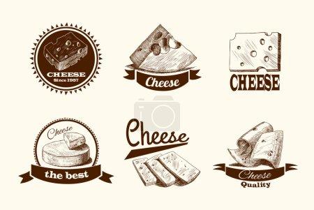 Illustration pour Parmesan cheddar et tranches de fromage fumé morceaux et blocs assortiment icônes doodle set illustration vectorielle - image libre de droit