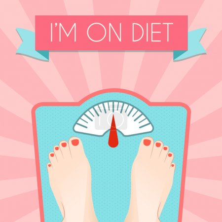 Illustration for Healthy weight loss control with retro scale diet concept decorative poster vector illustration - Royalty Free Image