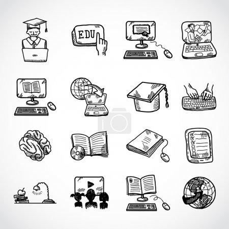 Illustration pour Éducation en ligne apprentissage connaissance et expérience icônes croquis ensemble illustration vectorielle isolée - image libre de droit