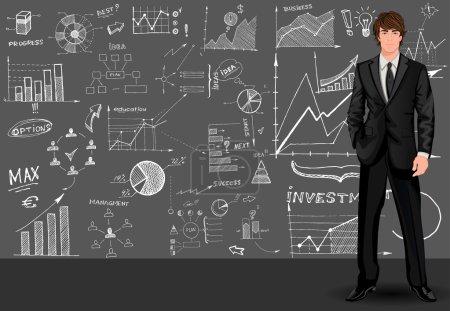Illustration pour Jeune grand homme d'affaires beau contre le croquis de style doodle graphique motif arrière-plan vectoriel illustration - image libre de droit