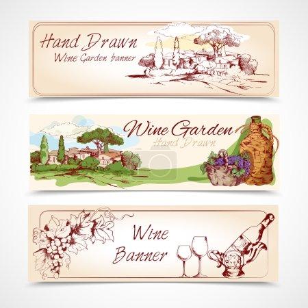Illustration pour Bannière de jardin de vin dessinée à la main avec des éléments de bouteille de raisin illustration vectorielle isolée - image libre de droit