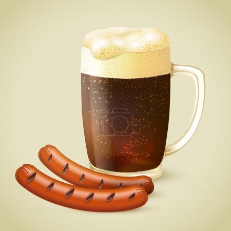 Illustration for Glass mug of cold dark porter stout beer with froth and grilled sausage emblem vector illustration - Royalty Free Image