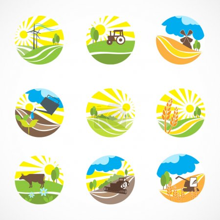 Illustration for Decorative agriculture and farming landscape icons set isolated vector illustration - Royalty Free Image