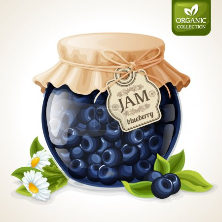 Illustration for Natural organic homemade forest blueberry jam in glass with tag and paper cover vector illustration - Royalty Free Image