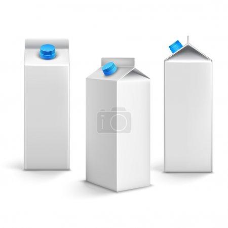 Illustration pour Jus de lait blanc blanc boîtes en carton paquets 3d icônes isolées illustration vectorielle - image libre de droit