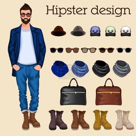 Illustration pour Hipster vintage character pack éléments de conception pour homme avec accessoire et vêtements illustration vectorielle isolée - image libre de droit