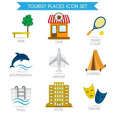 Building Tourism Icons Flat