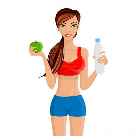 Illustration pour Jeune fille séduisante en forme maintient un poids santé avec régime alimentaire à base d'eau de pomme et illustration vectorielle d'entraînement - image libre de droit