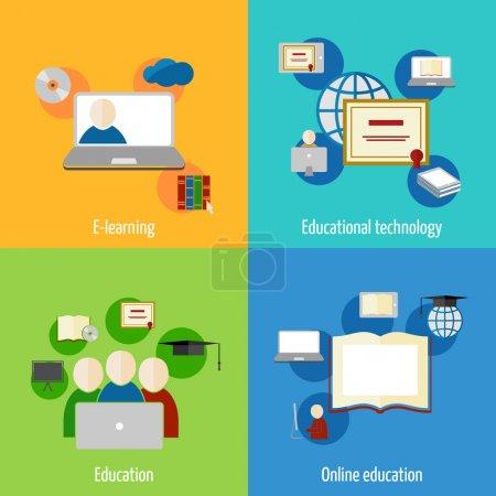 Illustration pour Icônes de l'éducation en ligne apprentissage webinaire plat école numérique définie illustration vectorielle isolé - image libre de droit