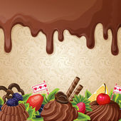 Sweets dessert background with milk chocolate syrup cream and ornament vector illustration