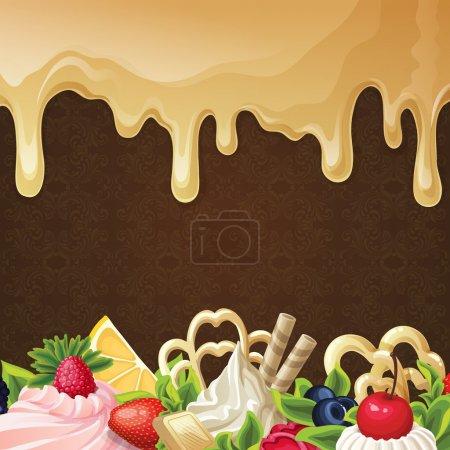 Illustration pour Bonbons fond de dessert avec crème de baies de sirop de caramel et illustration vectorielle ornement . - image libre de droit