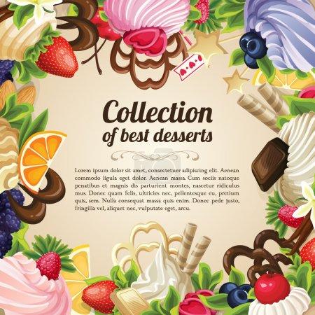 Illustration pour Collection de bonbons des meilleurs desserts cadre alimentaire avec la baie de chocolat et la crème vanille illustration vectorielle - image libre de droit